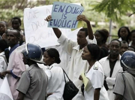 Unpaid doctors go on strike