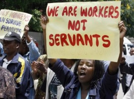 We want our money! – Defiant State workers